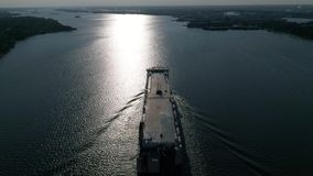 Aerial view of vehicle carrier ship Delaware River Philadelphia PA stock video