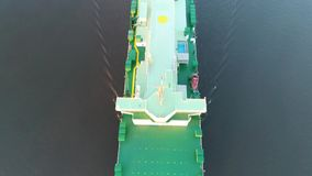 Aerial View of Vehicle Carrier Ship Leaving Philadelphia PA stock video