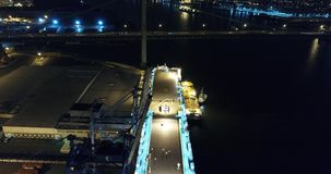 Aerial View of Vehicle Carrier Ship Leaving Port of Philadelphia stock video footage