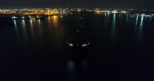 Aerial View of Vehicle Carrier Ship Leaving Port of Philadelphia stock footage