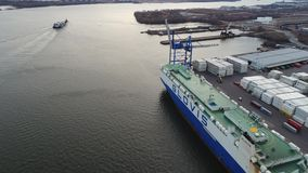 Aerial View Vehicle Carrier Unloading Cars Delaware River stock video footage