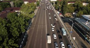 Aerial Drone Flight top down View of freeway busy city rush hour heavy traffic jam highway. stock footage