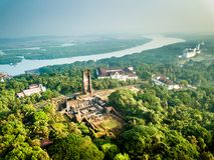 Aerial View of Velha Goa in Goa India. Drone View of Velha Goa in Goa India royalty free stock photo