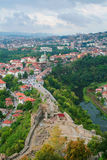 Aerial view of Veliko Tarnovo, Bulgaria. Aerial / birdseye view of the city of Veliko Tarnovo on a cloudy day. Shot from the tower of the church in the medieval Royalty Free Stock Photo