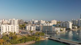 Aerial view of Venetian Way and Miami Beach, Florida. Aerial view of Venetian Way and Miami Beach from Gibb Park, Florida Royalty Free Stock Image