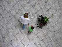 Aerial view of Venezuelans walking in a shopping mall. Royalty Free Stock Images