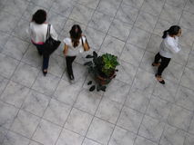 Aerial view of Venezuelans walking in a shopping mall. Royalty Free Stock Image