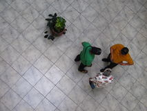 Aerial view of Venezuelans walking in a shopping mall. Stock Images