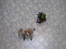 Aerial view of Venezuelans walking in a shopping mall. Stock Photo