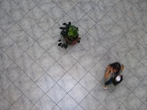 Aerial view of Venezuelans walking in a shopping mall. Royalty Free Stock Photo