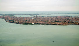 Aerial View of Venice. View from an aeroplane making its approach to Marco Polo Airport of the main city of Venice, Italy.  Note St Mark's Cathedral towards the Stock Photography