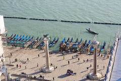An aerial view of Venice city from bell tower in San Marcus Squa Royalty Free Stock Image