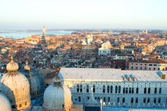 Aerial view of Venice at dawn, Italy stock photo