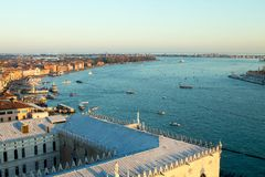 Aerial view of Venice at dawn, Italy royalty free stock images
