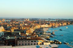 Aerial view of Venice at dawn, Italy stock image