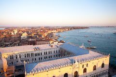 Aerial view of Venice at dawn, Italy royalty free stock photos