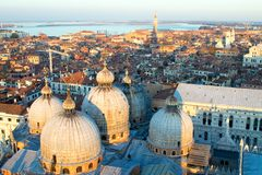 Aerial view of Venice at dawn, Italy royalty free stock photo
