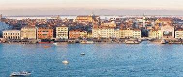 Aerial view on Venice with the Grand channel, vaporetto and water taxi in sunset Stock Image