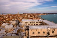 Top view of historical part of Venice. Aerial view of Venice, Palazzo Ducale, Basilica di San Marco royalty free stock photography