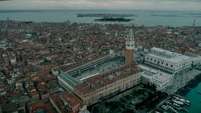 Aerial view of Venice panoramic landmark, aerial view of Piazza San Marco or st Mark square, Campanile and Ducale or. Doge Palace. Italy, Europe. Drone view. 4K stock video footage
