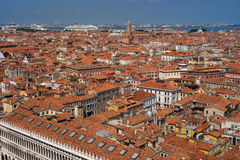 Aerial View of Venice roofs from the Campanile, Italy Royalty Free Stock Photos