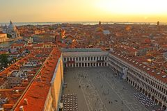 Aerial view of Venice from San Marco bell tower,. Italy stock photos