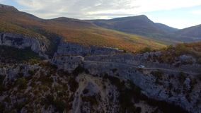 Aerial view of the Verdon gorges canyon stock footage
