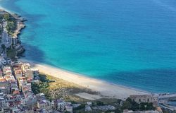 Aerial view of the Vergine Maria Beach in Palermo, Sicily, Italy Stock Photos
