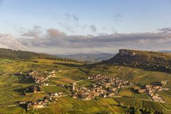 Aerial view of Vergisson village and rock in France stock photography