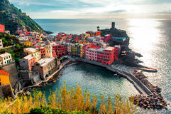Aerial view of Vernazza Stock Images