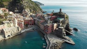 Aerial view of Vernazza, the famous Cinque Terre town, Liguria, Northern Italy stock video footage