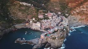 Aerial view of Vernazza in Cinque Terre Italy stock video footage