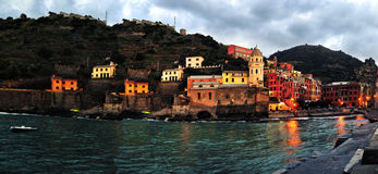 Aerial view of Vernazza - small italian town in Stock Photos