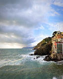 Aerial view of Vernazza - small italian town in Royalty Free Stock Images