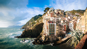 Aerial view of Vernazza - small italian town in Royalty Free Stock Photography