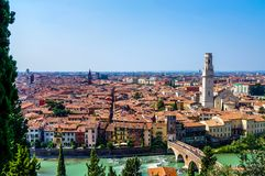 Aerial view of Verona historical center from viewpoint royalty free stock image