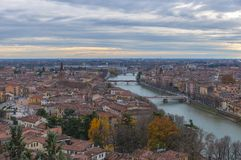 Aerial view of Verona, Italy. Romantic aerial view of Verona and Adige River, Italy Royalty Free Stock Photo