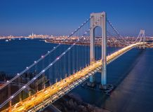 Aerial view of Verrazzano Narrows Bridge stock photos