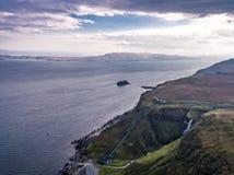 Aerial view of the very steep sea cliffs at Bearreraig Bay - Isle of Skye , Scotland stock photos