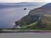 Aerial view of the very steep sea cliffs at Bearreraig Bay - Isle of Skye , Scotland royalty free stock photography
