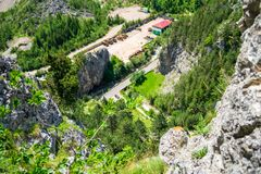 Aerial view from via ferrata Astragalus, a popular tourist attraction in Bicaz Gorge Cheile Bicazului, Neamt county, Romania. Vibrant nature colors as seen royalty free stock photo