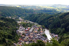 Aerial view of Vianden city in Luxemburg , Europe. High angle view of city Vianden in Luxemburg, Europe Royalty Free Stock Image