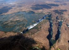 Aerial View of Victoria Falls Royalty Free Stock Photo
