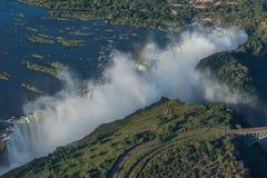 Aerial view of Victoria Falls near bridge Stock Photo