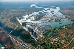 Aerial view of Victoria Falls on Zambezi River Royalty Free Stock Photo