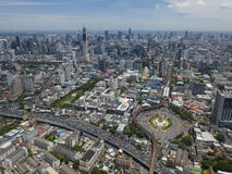 Aerial view of victory momument circus Bangkok Royalty Free Stock Images