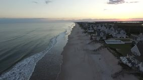 Aerial View / Video Close up of Beach Houses Oceanfront Topsail Island NC stock video footage