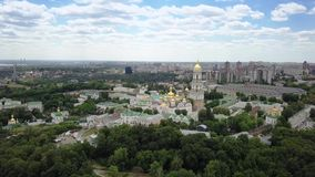 Aerial view of Kiev-Pechersk Lavra Ukrainian Orthodox Monastery stock video