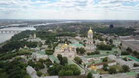 Aerial view of Kiev-Pechersk Lavra Ukrainian Orthodox Monastery stock video footage