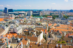 Aerial view of Vienna as seen from the Saint Stephan (Stephansdom) cathedral Royalty Free Stock Photo